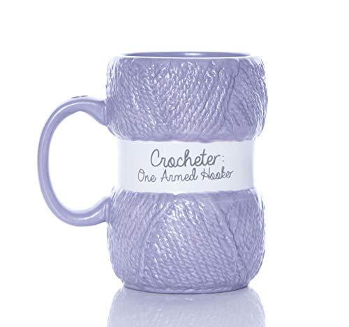 Boxer Gifts Crochet Mug Taza de Ganchillo con Texto en inglés One Armed Hooker, con Detalles realistas de Hilo | Divertida Navidad, cumpleaños, Papá Noel Secreto o Día de la Madre para ella, cerámica