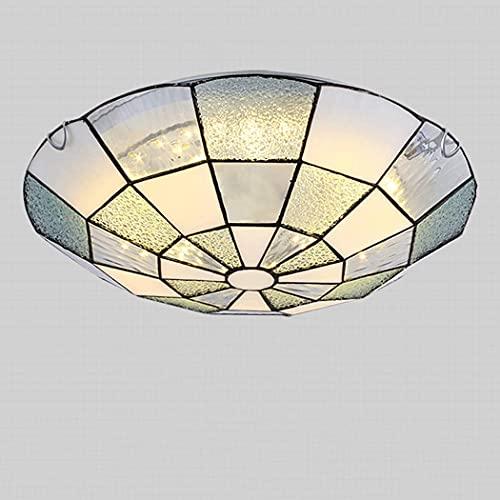 TOPNIU Luz de techo de montura a mano de montura a mano Tiffany Style Mediterráneo Mano hecho a mano Lámpara de vidrio de la lámpara de la lámpara de la mesa de la mesa de la mesa de la sombra de la s