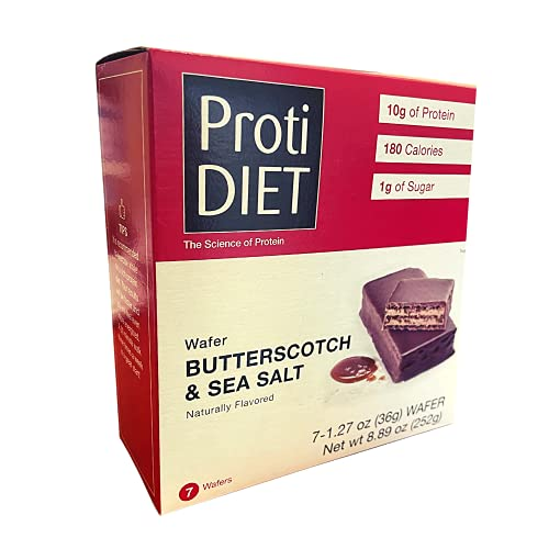 ProtiDiet - Protein Wafer Bars, 10 Grams of Protein, 180 Calories, Low Sugar, 7 Servings Per Box (Butterscotch & Sea Salt)