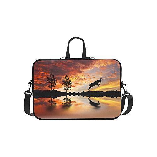 Laptop Sleeve Goat Jumping Lakeside Waterproof Laptop Shoulder Messenger Bag Pouch Bag Case Tote with Handle Fits 14 Inch Netbook/Laptop