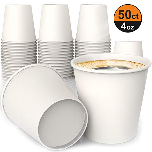 4 oz White Paper Cups - Beker voor Koffie Thee Water en Koude Dranken Ideale Bad Cup 110 ml (50 stuks)