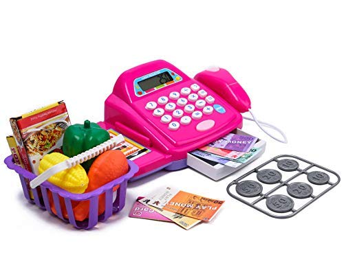 tabu toys world cash register pretend play toy with basket including vegetables, credit card, scanner (multi colour)-Pink