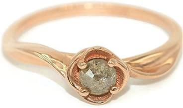 14k Rose Gold Rustic Diamond Wedding Ring, Salt and Pepper Affordable Diamond Ring, 14k Rose Solid Gold Ring, Flower Engagement Ring, Rose Gold Rustic Ring, Rustic Diamond Ring