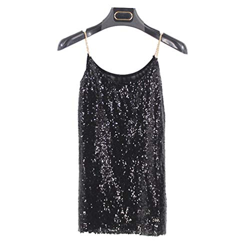 MaoDaAiMaoYi Camisole dames Sequined Glitter Tank Top T-Shirt Kleur Effen Zomer Mode Wonen Elegante Chain Mouwloos Uit Schouder Tanktops Blouses