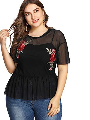 SheIn Women's Plus Size Rose Embroidered Sheer Mesh Peplum Top Blouse Black X-Large Plus