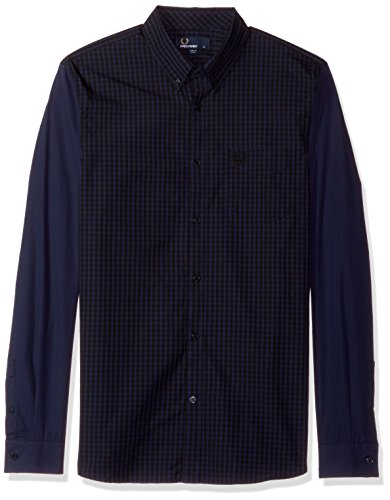 Fred Perry Herren Tonal Gingham Shirt Button Down Hemd, Medieval Blue, Klein