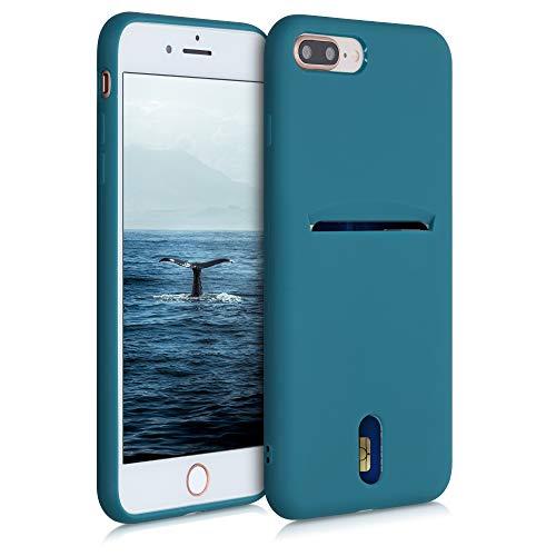 kwmobile Funda Compatible con Apple iPhone 7 Plus / 8 Plus - Carcasa de Silicona con Tarjetero y Acabado de Goma - petróleo Mate