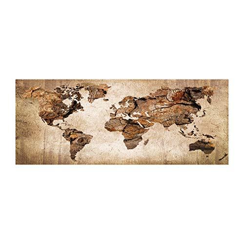 Tulup Glas-Bild Wandbild aus Glas - Wandkunst - Wandbild hinter gehärtetem Sicherheitsglas - Dekorative Wand für Küche & Wohnzimmer 125x50 - Landkarten & Flaggen - Weltkarte Holz - Braun