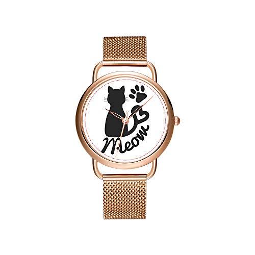 Dameshorloges merk dames mesh riem ultradun horloge waterdicht horloge kwartshorloge Kerstmis zwarte harten om Alice horloge