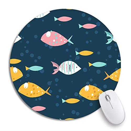 Rundes Mauspad Blaues Aquarium Lustiges Fischmuster auf dunklem buntem Baby rutschfestem Gummibasis-Mausmatten-Spielmousepad für Computer