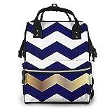 Mochila multifunción, diseño de cheurón blanco y dorado en azul marino, cambiador de pañales, bolsa de maternidad, mochila impermeable de viaje de gran capacidad