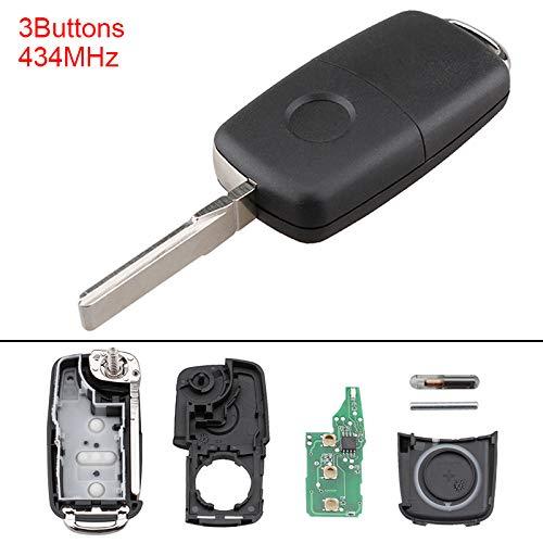 ePathChina® 5K0837202AD Funk-Autoschlüssel, Schlüsselgehäuse mit Elektronik, mit 434 MHz, 3 Tasten, für Volkswagen Käfer, Caddy, Tiguan, Touran, Arriba, Eos, Golf, Jetta, Polo, Scirocco