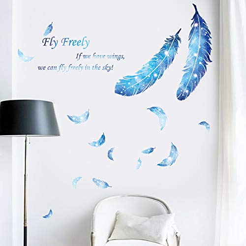 Free Flying Blue Feather Adhesivos de pared Autoadhesivo Diy Vinilo removible Mural Arte Sala de estar Dormitorio Decoración del hogar 128 * 120 cm