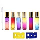 YLX Botellas Roll On Cristal para Aceites Esenciales 10ml, con Roll-on Bola de Acero Inoxidable, para Aceites Esenciales, Masajes, Aromaterapia, incluye gotero y abridor (9Pcs)