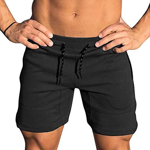 Yidarton Herren Shorts Sommer Jogginghose Kurze Hosen Fitness und Training Sporthose mit Tasch (Medium, Schwarz)