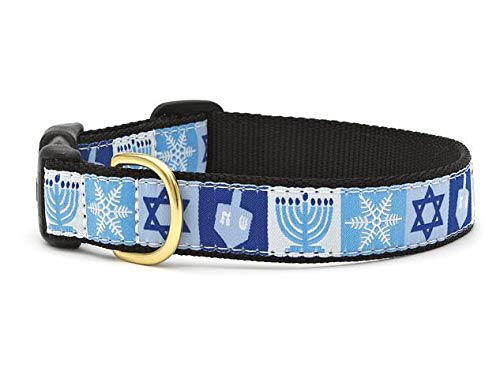 Up Country Hanukkah Pattern Dog Collar, X-Small (6 to 12 Inches) 5/8 Inch Narrow Width