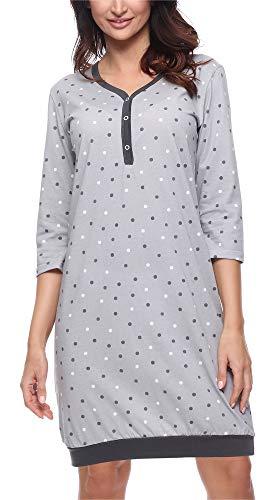 Merry Style Damen Nachthemd MS10-181 (Dunkelgrau, L)