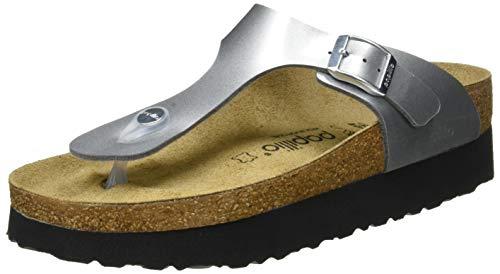 Papillio Damen Tongs Gizeh Birko-Flor Platform Metallic Silver Sandale, 39 EU