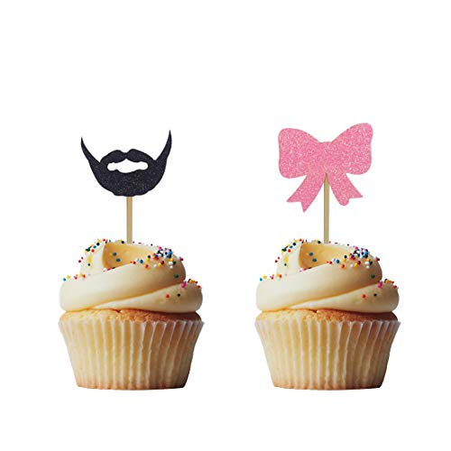 Morndew 24 PCS Beards or Bows Cupcake Toppers for Gender Reveal Party Baby Shower Birthday Party Decorations