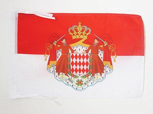 AZ FLAG Flagge Monaco MIT Waffen 45x30cm mit Kordel - FÜRSTENTUM Monaco Fahne 30 x 45 cm - flaggen Top Qualität
