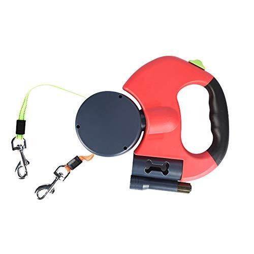 CRMY Doppel einziehbare Hundeleine, verhedderungsfreie Hundeleine für 2 Hunde mit je 25 kg, mit 2 3 m langem reflektierendem Band, Spender für Hundekotbeutel, LED-Licht