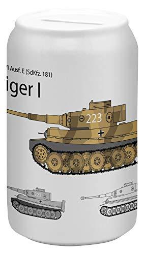 LEotiE SINCE 2004 Spardose Sparbüchse Geld-Dose Wiederverschließbar Farbe Weiß Retro Motiv Tiger Panzer Keramik Bedruckt