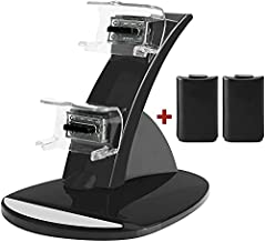 Controller Charger for Xbox 360, Y Team Xbox 360 Controller Battery Charger Kit, Dual Charger Charging Docking Station Kit for Xbox 360 360E 360S Controller with 2 Battery Pack (Charger with Battery)