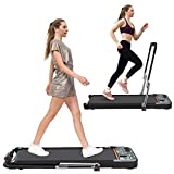 HOTSYSTEM 2 in 1 Folding Treadmill, Under Desk Treadmill, Indoor Walking Running Exercise Pad Machine, 2.25HP Electric, with Bluetooth Speaker, Led Display and Remote Control for Home Gym, Office