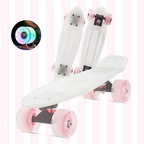 DUANYU Penny Board, 22 Zoll Pennyboard Pastel Skateboard Erwachsene Für Kinder, Tragbares Cruiser Skateboard Mit Leuchtendem Rad, Für Teenager Anfänger Mädchen Jungen (White Powder)