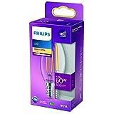 Philips LED Classic Bombilla, 60 W, E14, Vela Filamento, Transparente, Luz Blanca Cálida, No Regulable