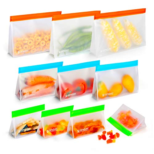 10 Pack Reusable Food Storage Bags Stand Up Freezer Bags Silicone Ziplock Bags 3 Reusable Gallon Bags 3 Leakproof Sandwich Bags 4 Thick Snack Bags for for Meat Fruit Cereal Snacks amp Organization