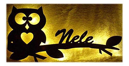 Mädchen Junge Geschenke Ast Eule Hearty mit Name nach Wunsch, Led-Lampe für das Kinder-Zimmer Wohnzimmer Flur Schlafzimmer
