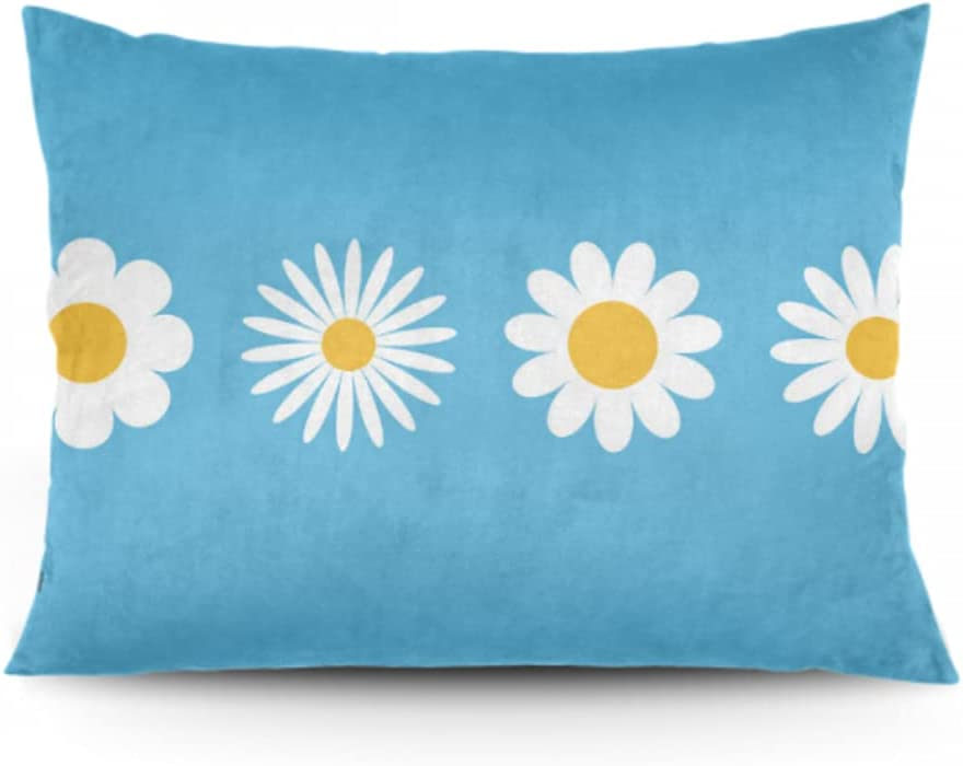 outlet JIUCHUAN Pillow Cases Set of 2 Round Max 76% OFF Icon White Da Camomile