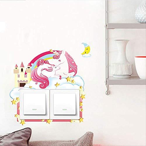 Driedimensionale Bump 3D Schakelaar Plakken Eenhoorn Dinosaur Konijn Socket Bescherming Decoratie Set Pu Leer Zachte Lijm