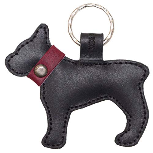 Hide & Drink, Leather Keychain French Bulldog / Key Ring / Holder / Animal Lover / Cute Gifts / Accessories, Handmade Includes 101 Year Warranty :: Charcoal Black