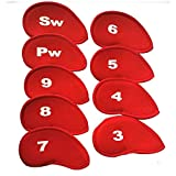 Kinhevao Golf Club de Golf Accesorios Cubiertas Cubiertas Número de Hierro Headcovers 10Pcs Cuello Largo impresión Irons Head Set Caja de protección for Amantes del Golf (Color : Red)
