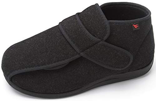 JIONS Unisex Men Women Adjustable Velco Wide Shoes Swollen Feet Diabetic Edema Boots Slippers (44, A- Black)