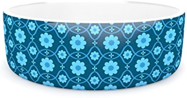 Kess InHouse Nandita Singh Floral bluee  Aqua Pattern Pet Bowl, 7