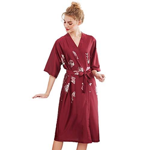 Vrouwen Kimono Badjas Robe, Dames Nachthemden Sleepshirts, Women's Badjas Night Robe Zijde Satijn Dames Badjas Nachtjapon Sexy Nachthemd Strappy Nachtkleding Nachtkleding