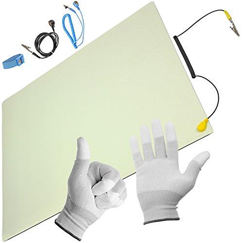 Minadax® ESD Antistatik-Matte 50 cm x 60 cm - inkl. Manschette + Verlängerung + Handschuhe - Professionelle Antistatische Arbeitsmatte - PVC-Matte mit Erdungskabel - Qualität - ESD-Schutz