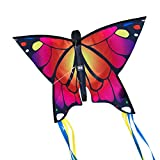 CIM Butterfly kite - Butterfly PINK - kite for kids 3 years and up - 58x40cm - including flying line - with 195cm bow tails