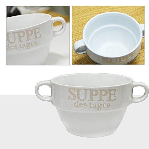DRULINE 6er-Set Suppentassen Suppenschüssel Suppenterrine aus Keramik mit Aufschrift Suppe (Weiß) Ø 13 cm