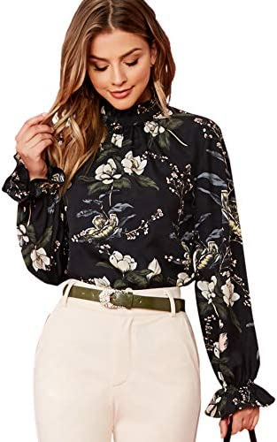 Floerns Women s Floral Print Long Sleeve High Neck Georgette Chiffon Blouse Black Flower S product image