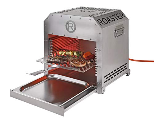 Rothenberger Industrial Gastro Roaster XXL Steakgrill - Hochtemperaturgrill - Oberhitzegrill inkl. Grillrost - Auffangschale - Batterien für vollautomatische Piezo-Impulszündung - 1,5 m Gasschlauch -
