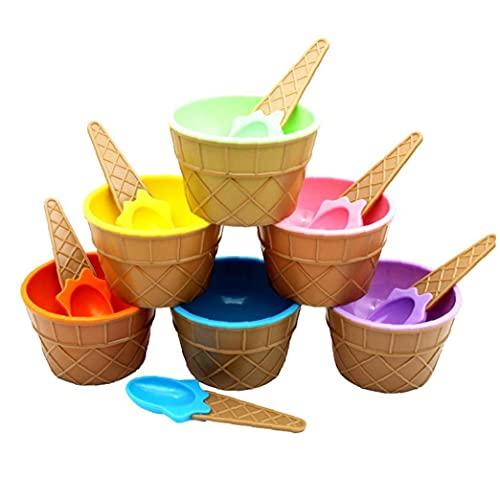 Hainice Helado Fuentes de plástico Tazón Conjunto Cuchara de Postre Colorido Lindo recipientes de Comida Contenedores Copas para los Platos para niños 6PCS