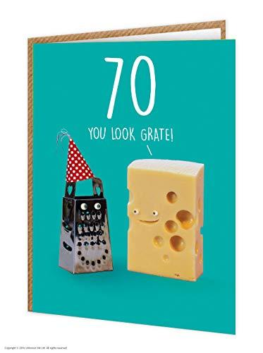 70e verjaardagskaart | Grappig Humoristisch | Leeftijdskaart | Kaas grap | 'Je kijkt Grate!' | Verkocht door onbekende inkt