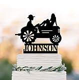 RLIQUMQ Farmhouse wedding Tractor wedding cake topper, Farmer wedding cake topper, silhouette cake topper Country Wedding cake topper
