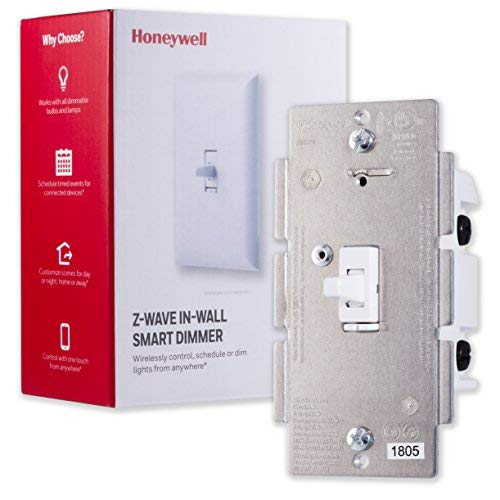 Honeywell Z-Wave Plus Smart Light Dimmer Switch, In-Wall Toggle |Built-In Repeater Range Extender | Requires Neutral Wire | ZWave Hub Required - SmartThings ...