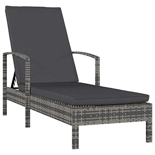 FYLYHWY Tumbona Ajustable con la Silla de Playa Trenzada de Remrest for Acampar Terraza Sillas de jardín con Respaldo reclinado