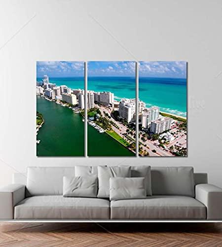 QUANQUAN Stampe e Quadri su Tela Quadri su Tela Arte murale Stampe HD Immagini 3 Pezzi Skyline di Miami Miami Poster per Soggiorno Decorazioni per la casa modulari